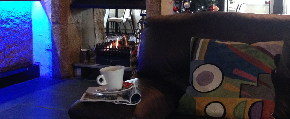 Warm drinks by our cosy fire