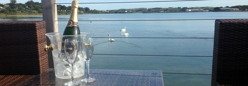Champagne and swans