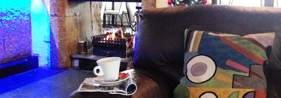 Cosy fire and coffee